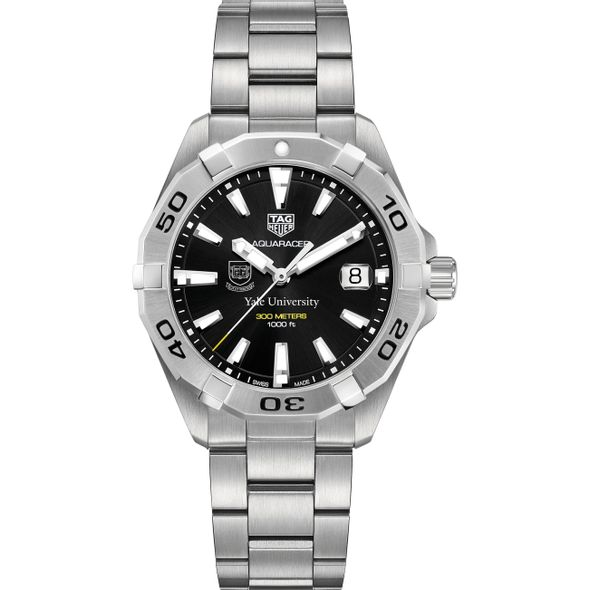 Yale University Men's TAG Heuer Steel Aquaracer with Black Dial - Image 2