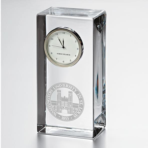 WashU Tall Glass Desk Clock by Simon Pearce