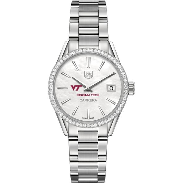 Virginia Tech Women's TAG Heuer Steel Carrera with MOP Dial & Diamond Bezel - Image 2