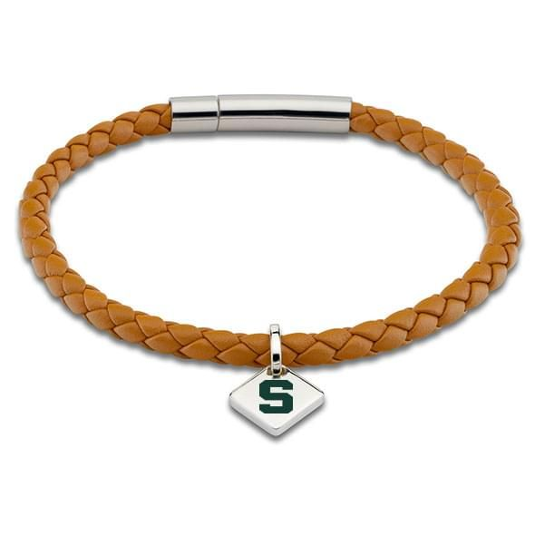 MSU Leather Bracelet with Sterling Silver Tag - Saddle
