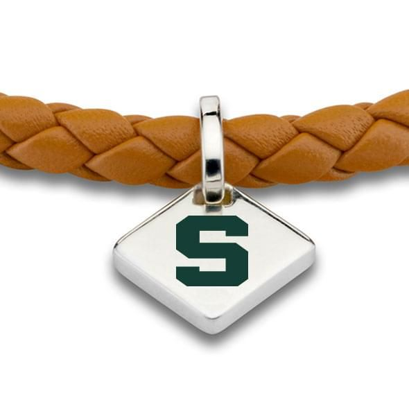 MSU Leather Bracelet with Sterling Silver Tag - Saddle - Image 2