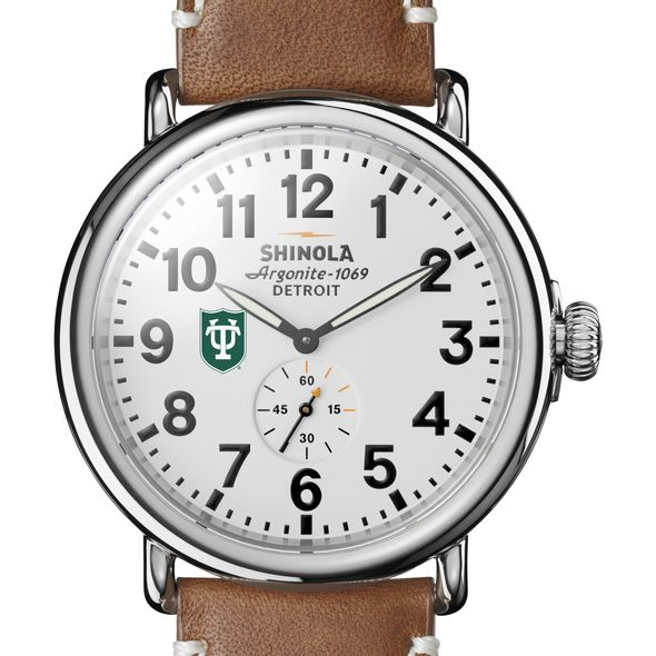 Tulane Shinola Watch, The Runwell 47mm White Dial