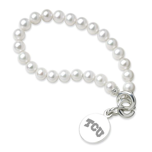 TCU Pearl Bracelet with Sterling Charm