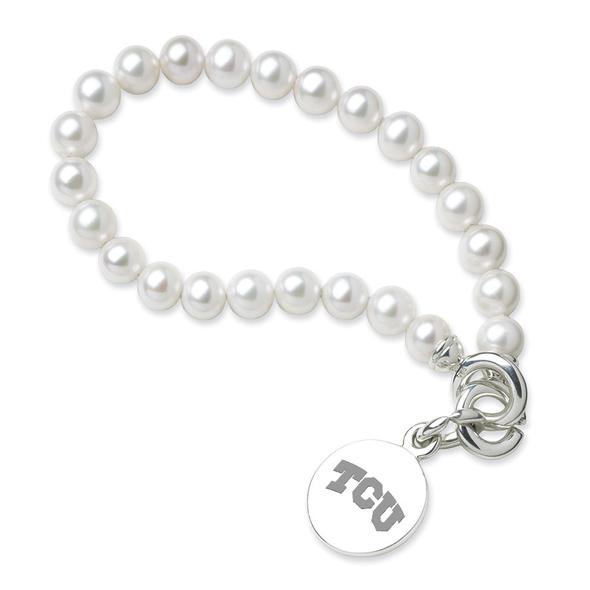 TCU Pearl Bracelet with Sterling Charm