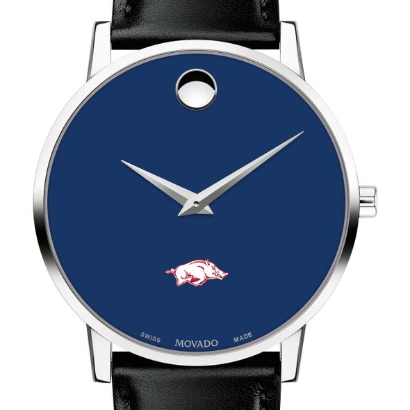 University of Arkansas Men's Movado Museum with Blue Dial & Leather Strap