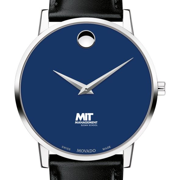 MIT Sloan School of Management Men's Movado Museum with Blue Dial & Leather Strap - Image 1
