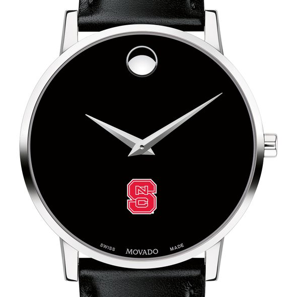 North Carolina State Men's Movado Museum with Leather Strap