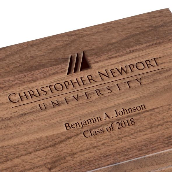 Christopher Newport University Solid Walnut Desk Box - Image 3