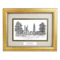 Framed Pen and Ink Yale University Print