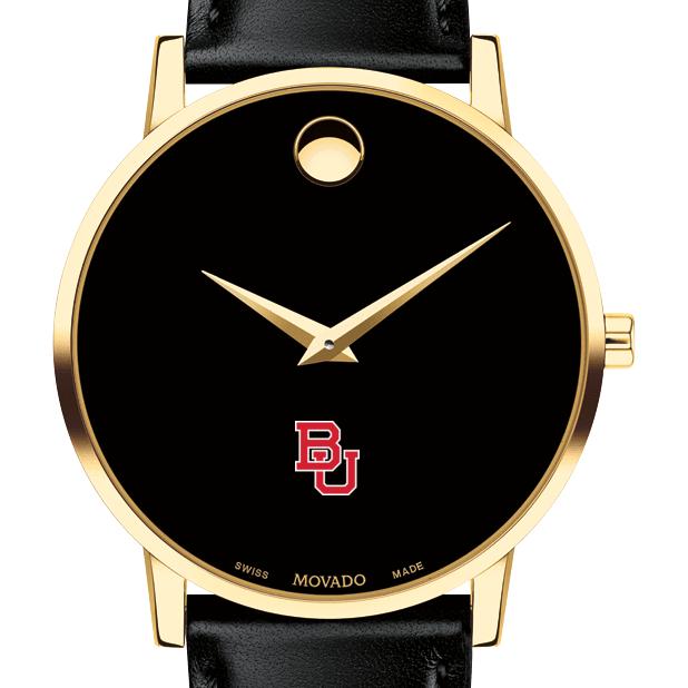 Boston University Men's Movado Gold Museum Classic Leather