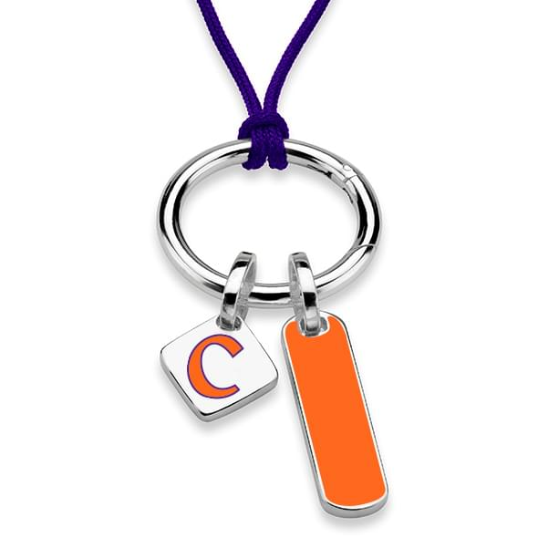 Clemson Silk Necklace with Enamel Charm & Sterling Silver Tag