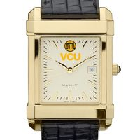 VCU Men's Gold Quad with Leather Strap