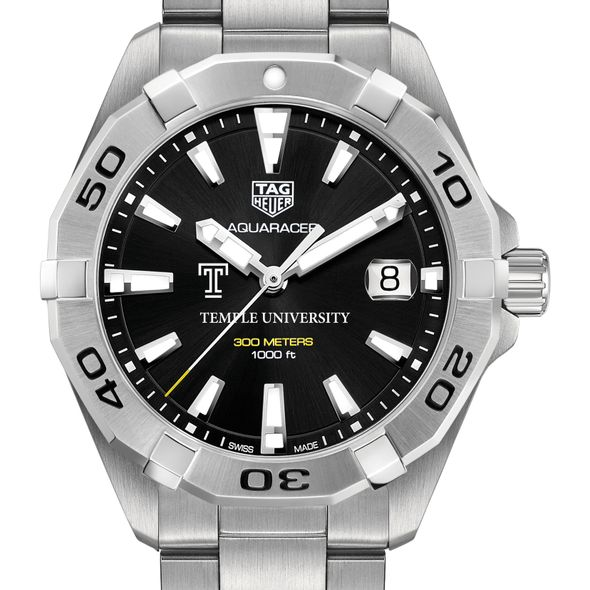 Temple Men's TAG Heuer Steel Aquaracer with Black Dial