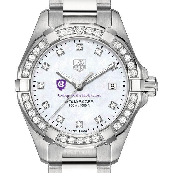 Holy Cross W's TAG Heuer Steel Aquaracer with MOP Dia Dial & Bezel