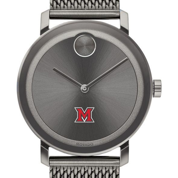 Miami University Men's Movado BOLD Gunmetal Grey with Mesh Bracelet