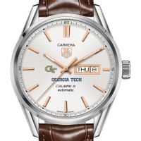 Georgia Tech Men's TAG Heuer Day/Date Carrera with Silver Dial & Strap