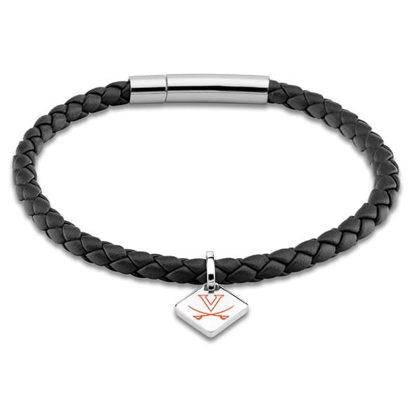 Virginia Leather Bracelet with Sterling Silver Tag - Black