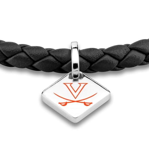 Virginia Leather Bracelet with Sterling Silver Tag - Black - Image 2