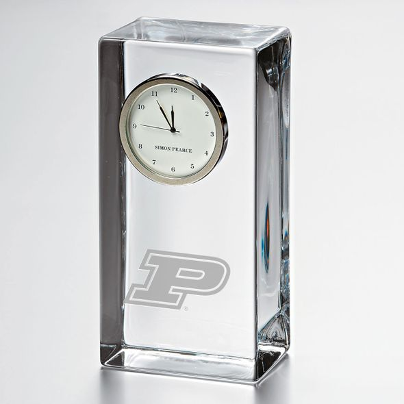 Purdue University Tall Glass Desk Clock by Simon Pearce