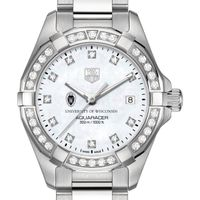 Wisconsin Women's TAG Heuer Steel Aquaracer with MOP Diamond Dial & Diamond Bezel