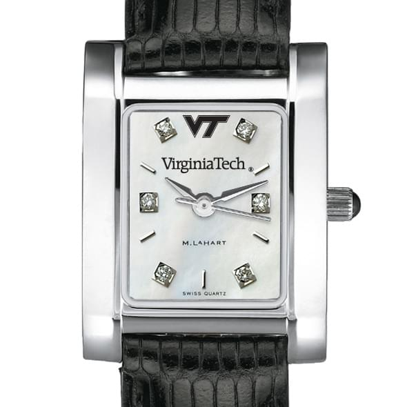 Virginia Tech Women's Mother of Pearl Quad Watch with Diamonds & Leather Strap