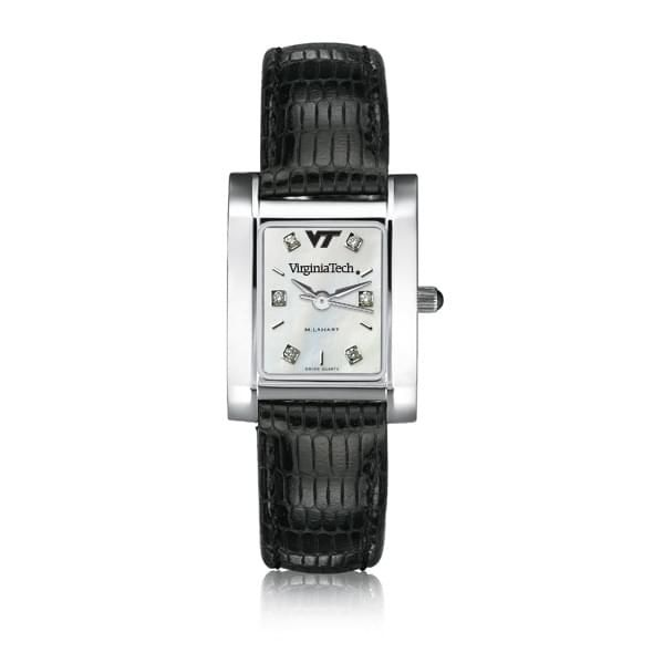 Virginia Tech Women's Mother of Pearl Quad Watch with Diamonds & Leather Strap - Image 2