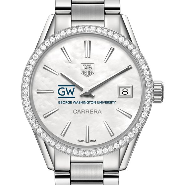 George Washington University Women's TAG Heuer Steel Carrera with MOP Dial & Diamond Bezel