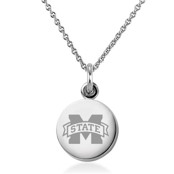 Mississippi State Necklace with Charm in Sterling Silver