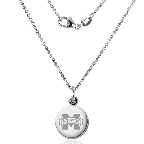Mississippi State Necklace with Charm in Sterling Silver - Image 2