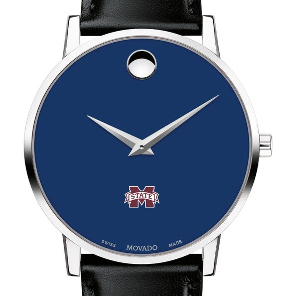 Mississippi State Men's Movado Museum with Blue Dial & Leather Strap