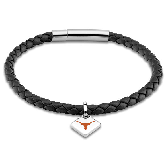 University of Texas Leather Bracelet with Sterling Silver Tag - Black