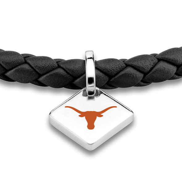 University of Texas Leather Bracelet with Sterling Silver Tag - Black - Image 2