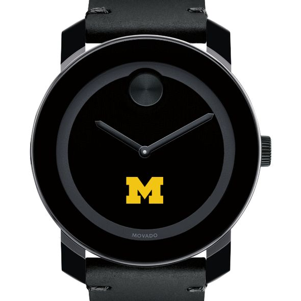 University of Michigan Men's Movado BOLD with Leather Strap