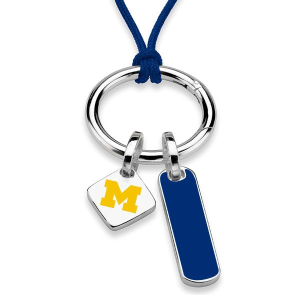 University of Michigan Silk Necklace with Enamel Charm & Sterling Silver Tag