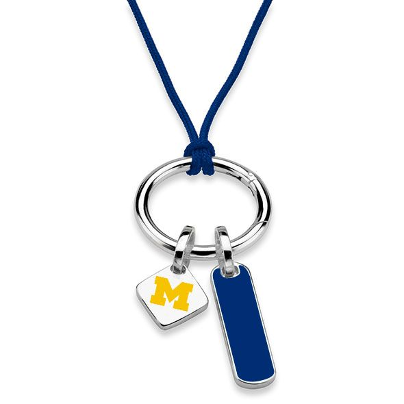University of Michigan Silk Necklace with Enamel Charm & Sterling Silver Tag - Image 2