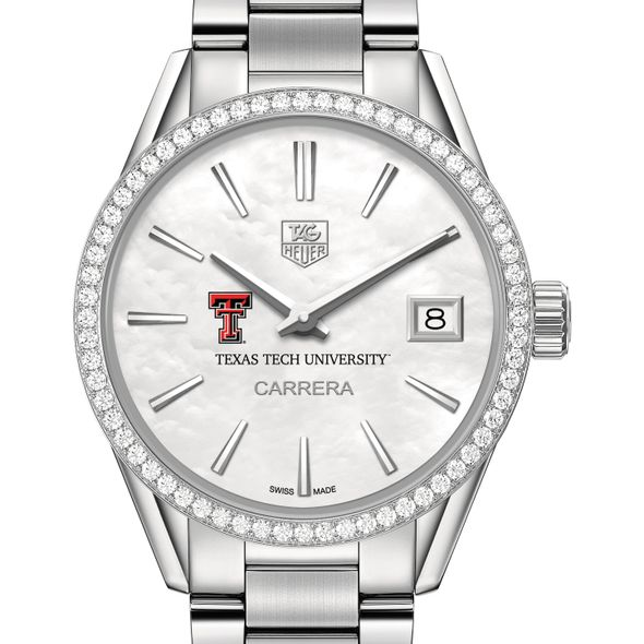 Texas Tech Women's TAG Heuer Steel Carrera with MOP Dial & Diamond Bezel - Image 1