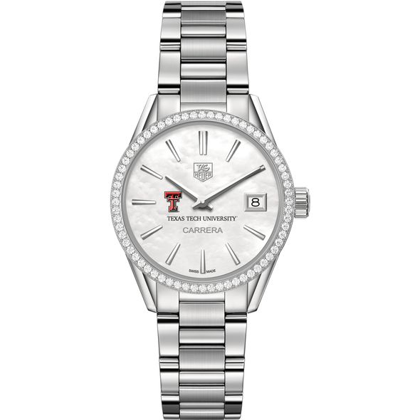 Texas Tech Women's TAG Heuer Steel Carrera with MOP Dial & Diamond Bezel - Image 2