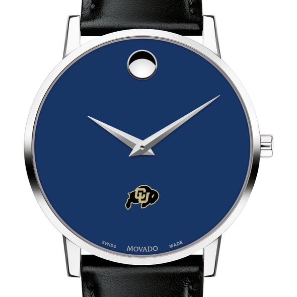 University of Colorado Men's Movado Museum with Blue Dial & Leather Strap - Image 1