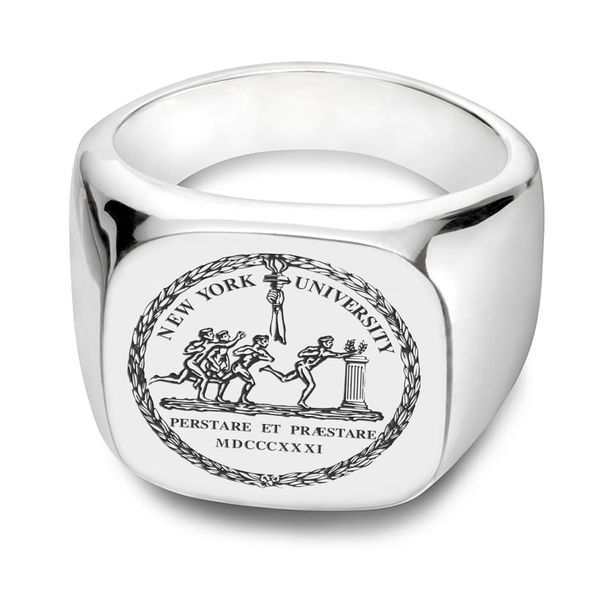 NYU Sterling Silver Square Cushion Ring