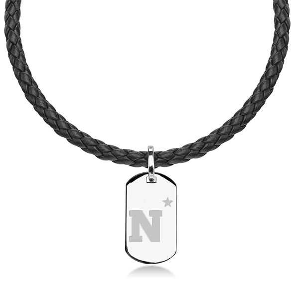 US Naval Academy Leather Necklace with Sterling Dog Tag