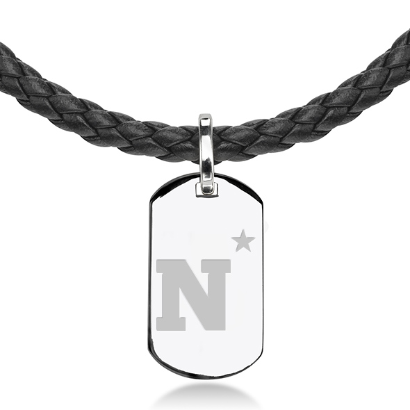 US Naval Academy Leather Necklace with Sterling Dog Tag - Image 2