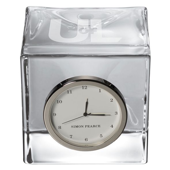 University of Louisville Glass Desk Clock by Simon Pearce - Image 2