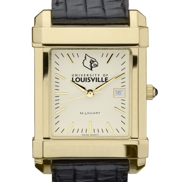 University of Louisville Men's Gold Quad with Leather Strap