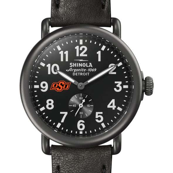 Oklahoma State Shinola Watch, The Runwell 41mm Black Dial - Image 1