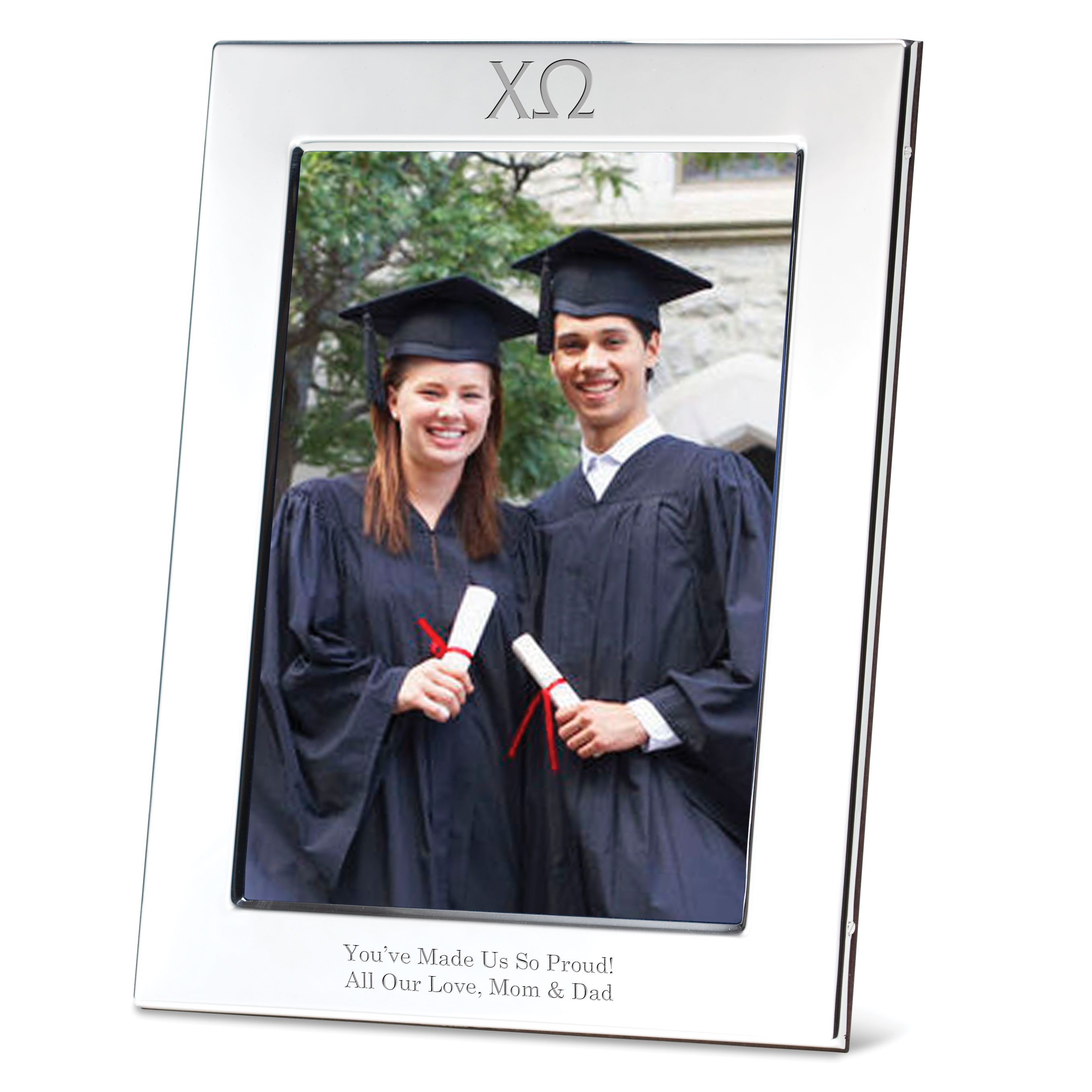 Chi Omega Polished Pewter 5x7 Picture Frame
