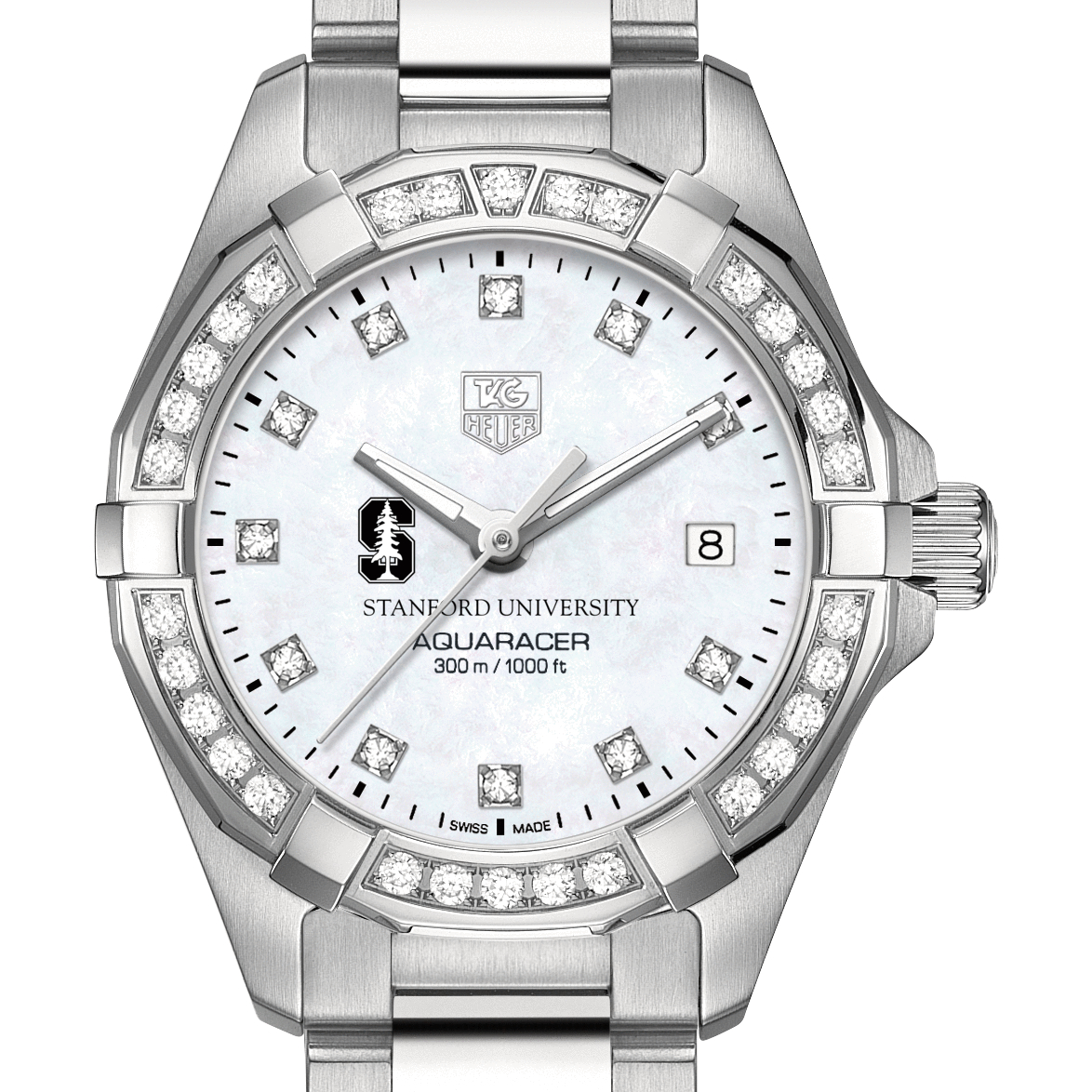 Stanford University Women's TAG Heuer Steel Aquaracer with MOP Diamond Dial & Diamond Bezel