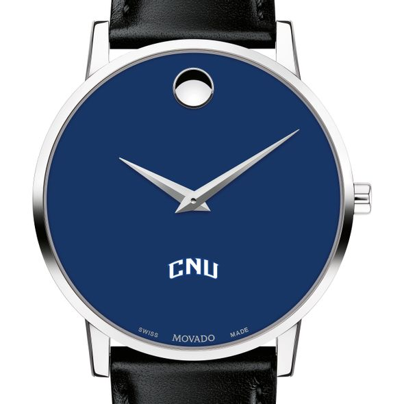 Christopher Newport University Men's Movado Museum with Blue Dial & Leather Strap