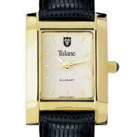 Tulane Women's Gold Quad with Leather Strap