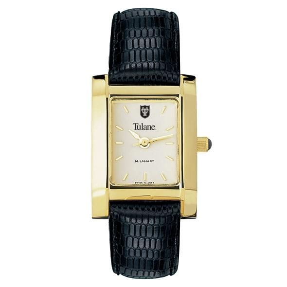 Tulane Women's Gold Quad with Leather Strap - Image 2