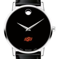 Oklahoma State University Men's Movado Museum with Leather Strap